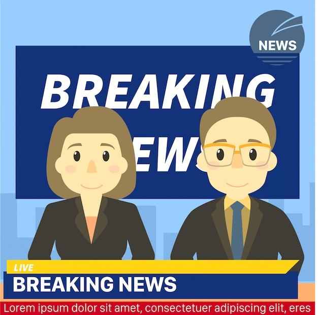 Notícias anchor headline breaking news template