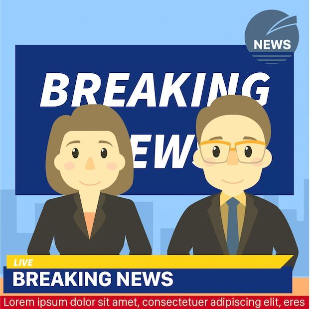 Notícias anchor headline breaking news template