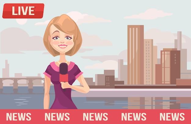 Notícias ao vivo, ilustração plana dos desenhos animados