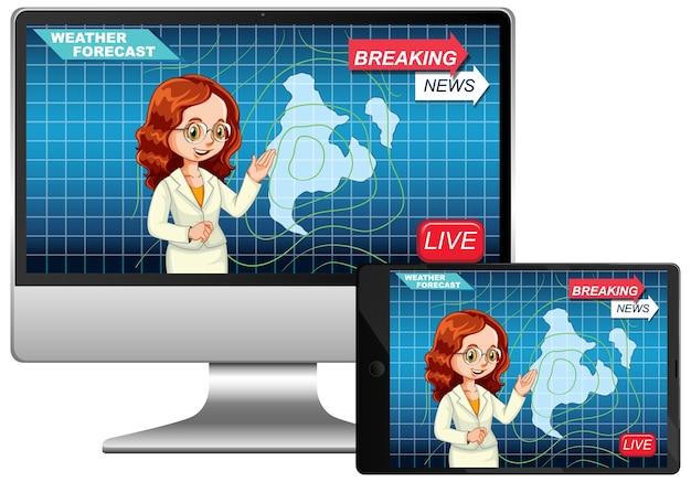 Notícias ao vivo na tela do computador