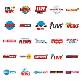 Notícias ao vivo quebrando o conjunto de ícones de rótulo