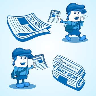 Notícias boy illustration