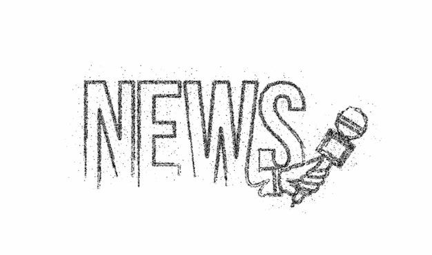 Notícias calligraphic particle line art ilustração de vetor de cartaz de compras de texto design.