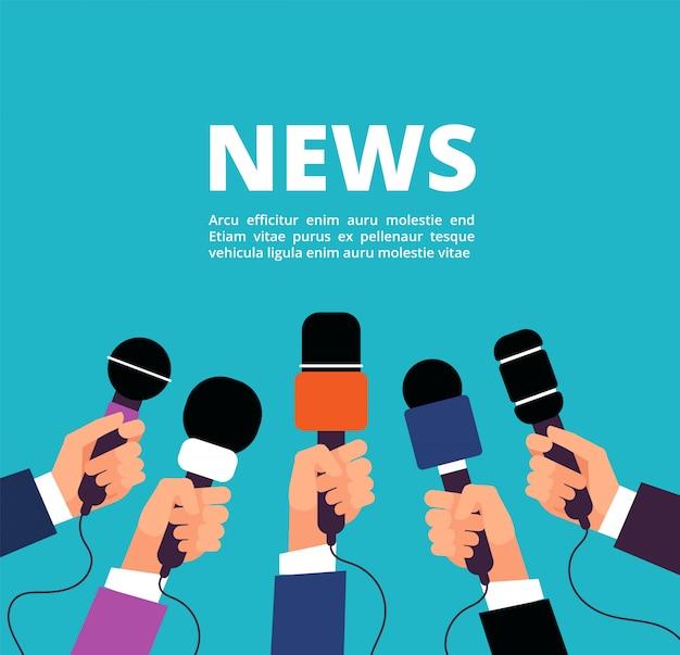 Notícias com microfones. banner de transmissão, entrevista e comunicação com handa segurando microfones