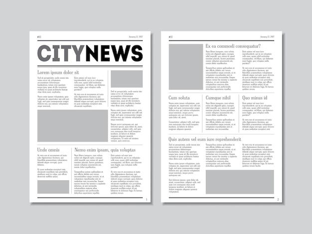 Notícias da cidade com cabeçalhos em uma superfície cinza