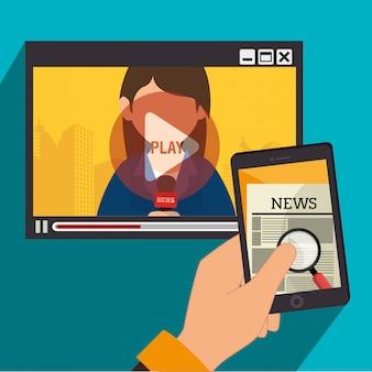 Notícias da mídia de massa na tv e no celular