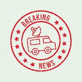 Notícias de comunicação quebrando avisos antena do carro