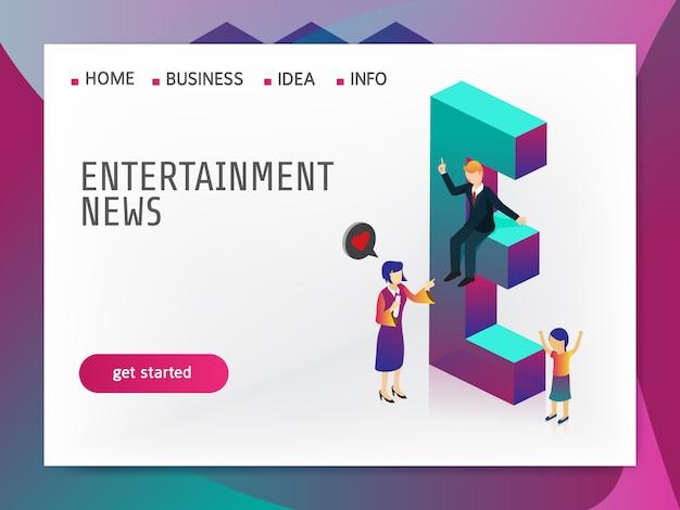 Notícias de entretenimento isométricas
