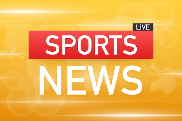 Notícias de esportes ao vivo no fundo do mapa mundo. banco de ilustração vetorial