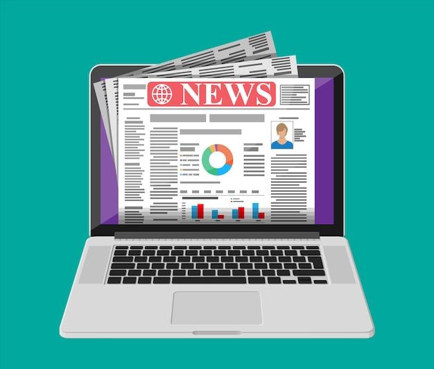 Notícias de negócios na tela do laptop