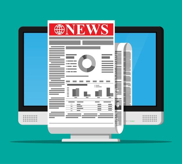 Notícias de negócios na tela do monitor do computador. jornal diário enrolado na internet. rolo de jornal de notícias online. páginas com vários títulos, imagens, citações, artigos de texto. estilo plano