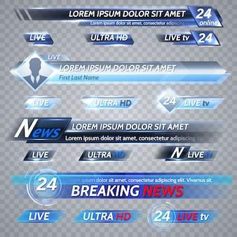 Notícias de tv e streaming de vetor banners de vetor. ilustração da bandeira de fluxo de vídeo, cartaz de mídia para transmissão de tv