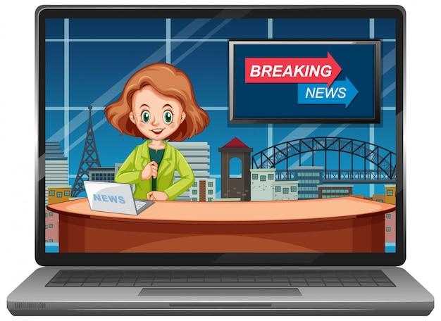 Notícias de última hora em telas de laptop