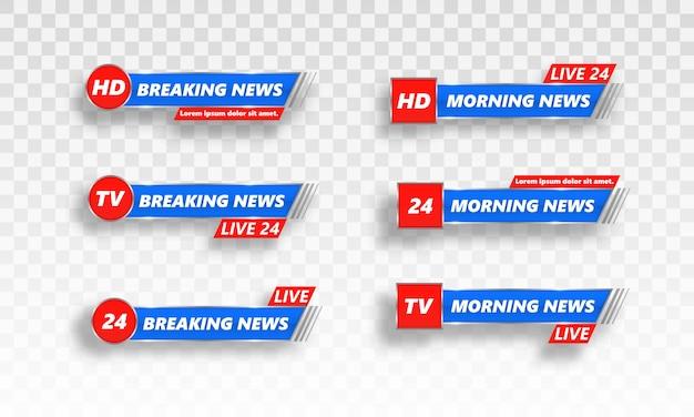 Notícias de última hora, full hd, ultra hd, dramatização, gravação ao vivo. cabeçalho inferior. vetor