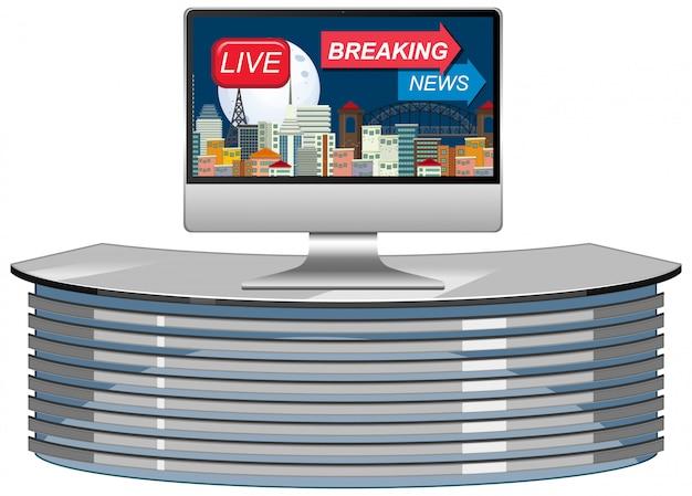 Notícias de última hora na tela da tv ou do monitor do computador isoladas