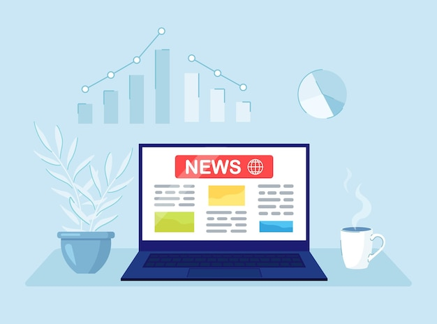 Notícias de última hora na tela do computador. conceito de negócio de mídia online.