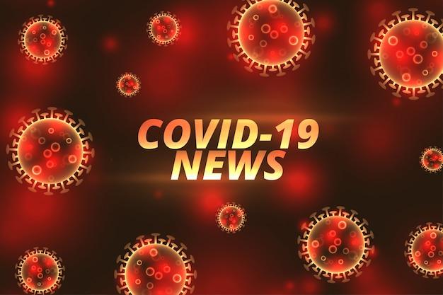 Notícias do coronavírus covid-19 atualizam banner com vírus flutuante