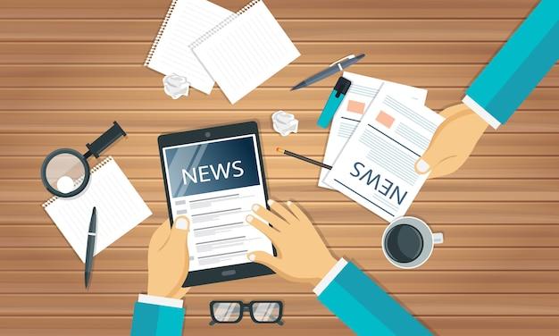 Notícias e jornalismo conceito