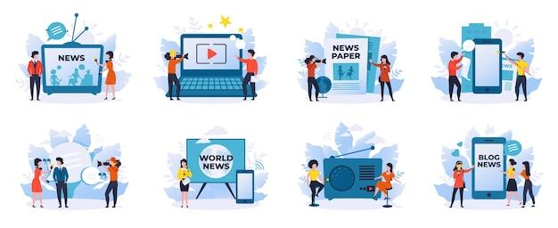 Notícias e jornalismo. repórteres, programas de entrevistas, personagens de desenhos animados, cenas