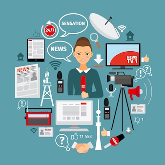 Notícias e jornalista conceito