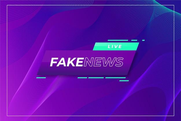 Notícias falsas ao vivo no fundo violeta gradiente ondulado