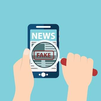 Notícias falsas ou digitalização de fato com ilustração vetorial de lupa