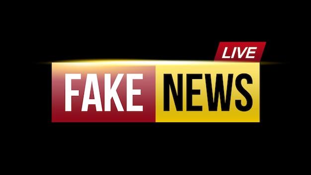 Notícias falsas transmitem ao vivo a tela da televisão.