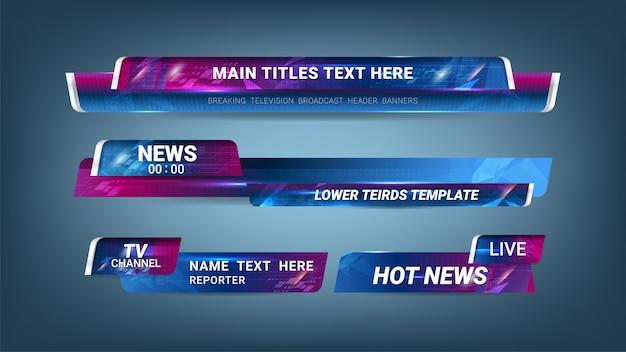 Notícias lower thirds banner para televisão