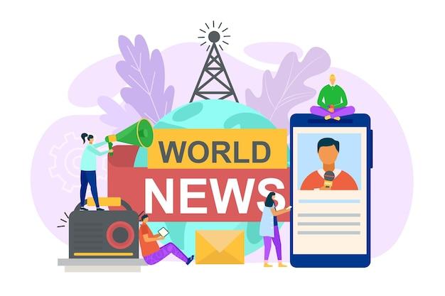 Notícias mundiais em ilustração de mídia social