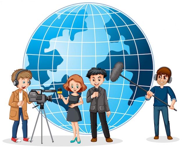 Notícias repórter e fotógrafo com globo no fundo