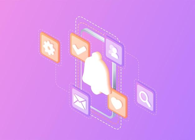 Notificação comunicação digital notificação de mensagem instantânea de smartphone móvel para bate-papo