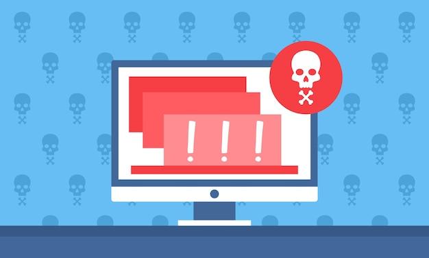 Notificação de alerta de perigo no computador para website banner a