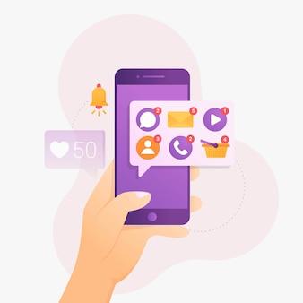 Notificação de alguns aplicativos no smartphone