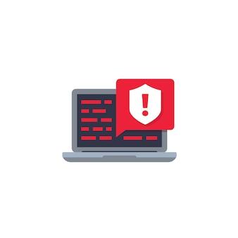 Notificação de aviso de segurança, ícone de vetor