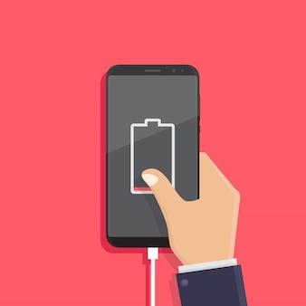 Notificação de bateria fraca, ilustração em vetor design plano