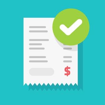 Notificação de marca de seleção de pagamento aprovado com sucesso no ícone de nota fiscal de recibo de papel