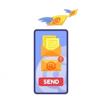 Notificação de mensagem de email na tela do telefone Vetor Premium