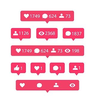 Notificação de mídia social definida com seguidores, comentários e curtidas
