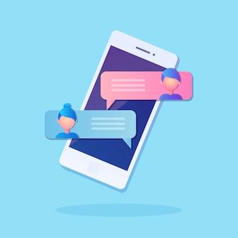 Notificação de novas mensagens de bate-papo no celular. bolhas de sms na tela do celular. pessoas conversando.