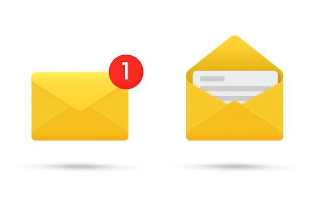 Notificação de símbolo ou sms em dispositivos eletrônicos.