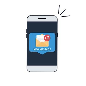 Notificação de um novo e-mail no seu celular ou smartphone. tela do smartphone com nova mensagem de e-mail não lida e ícones de envelope de e-mail lidos, conceito de caixa de entrada