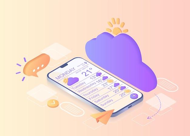 Notificação meteorológica comunicação digital notificação por mensageiro instantâneo para smartphone móvel