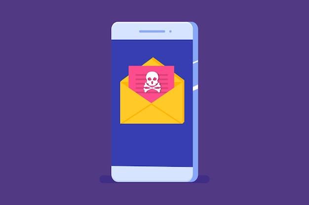 Notificação ou alerta de cavalo de troia de malware de vírus de smartphone