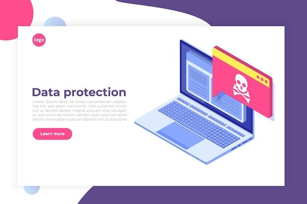 Notificação ou alerta de malware de malware de vírus de laptop