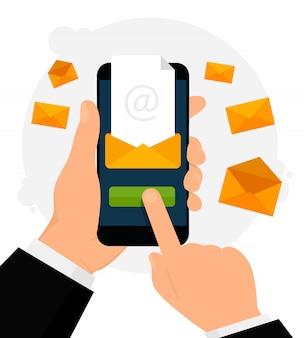 Notificação por e-mail na ilustração do telefone móvel