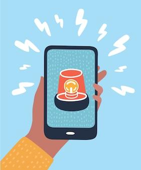 Notificações de telefone, novos conceitos de mensagem recebida. mão segurando o smartphone com balão e ícone de ponto de exclamação. elementos gráficos modernos. desenho de longa sombra. ilustração