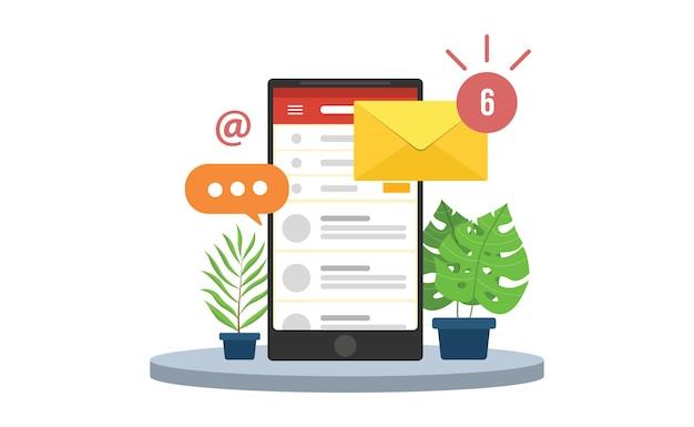 Notificações móveis por e-mail com ícones de smartphone e envelope