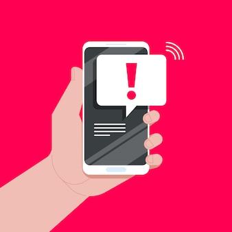 Notificações por telefone, nova mensagem recebeu conceitos. mão segurando o telefone com bolha do discurso