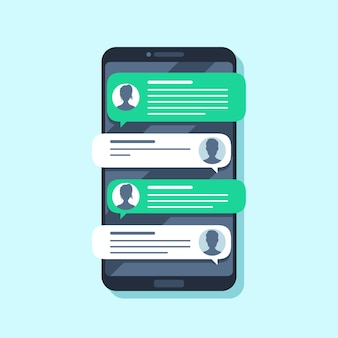 Notificações sms móveis. entregue a mensagem no smartphone, pessoas conversando. ilustração plana de conversão