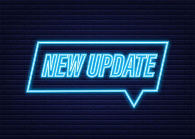 Nova atualização da bandeira da bolha do vetor vermelho. ícone de néon. ilustração vetorial.